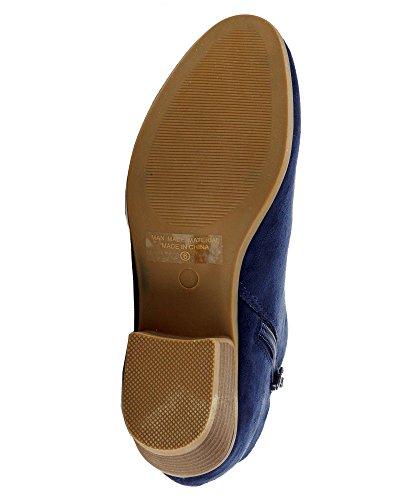 RF RAUM DER MODE Dolce-31 Tailored Vegan Suede Side Reißverschluss Mandel Toe Low Kitten Heel Ankle Bootie Stiefel Navy Wildleder