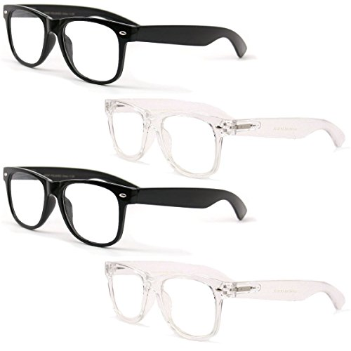 4 Pairs Reading Glasses - Comfortable Stylish Simple Readers Rx Magnification - Anti-Reflective AR Coating (2 Black 2 Clear, - Reading Glasses Clear