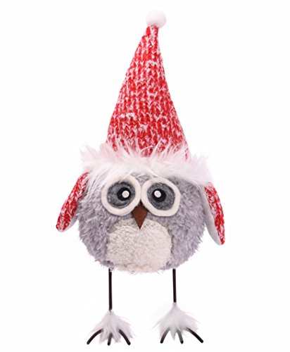 Final Clearance! Amazlab Cute Christmas Plush Dancing Owl Standing Figurine with Spring, Splashing and Funny Christmas Gifts Home Holiday Decoration Ornaments