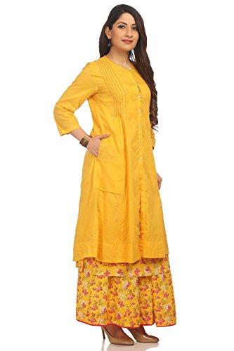 BIBA Women's Yellow Front Open Cotton Kurta Size 34 by Biba (Image #2)