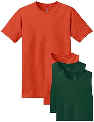 Hanes Men's Comfortsoft T-Shirt, 2 Orange / 2 Deep Forest, XL (Pack of 4)