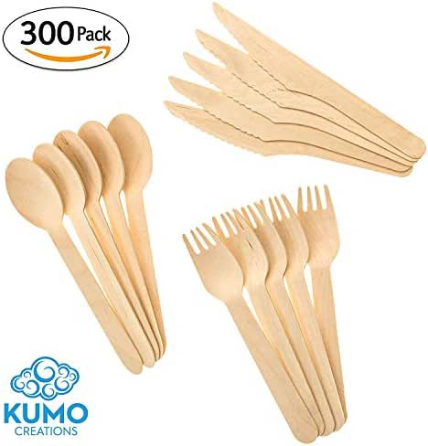 """Wooden Disposable Cutlery Combo Set – 300 pc - 100 Forks, 100 Spoons, 100 Knives, 6"""" Utensils - Eco Friendly, Biodegradable, Compostable – Parties, Weddings, Gatherings – FORGET Plastic, GO GREEN!"""