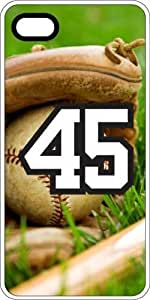 Baseball Sports Fan Player Number 45 White Rubber Decorative iphone 6 plus Case