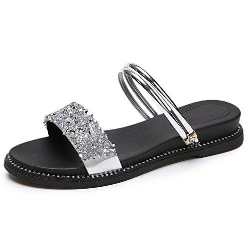 Sandales Plates Sandales Pantoufles d' Strass Chaussures Femmes Chaussons Z8Owq5w