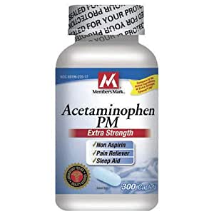 Acetaminophen PM Extra Strength - Compare to Tylenol PM - Non-Aspirin, Pain Reliever, Fever Reducer, Sleep Aid - 300 caplets