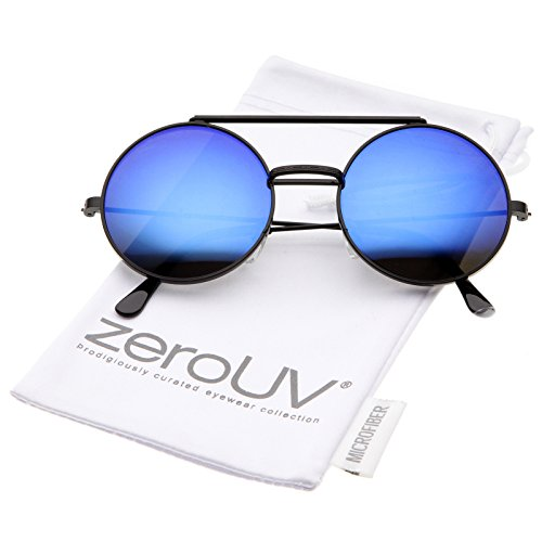 zeroUV - Mid Size Flip-Up Colored Mirror Lens Round Django Sunglasses 49mm (Black / Blue - Flip Lens Sunglasses