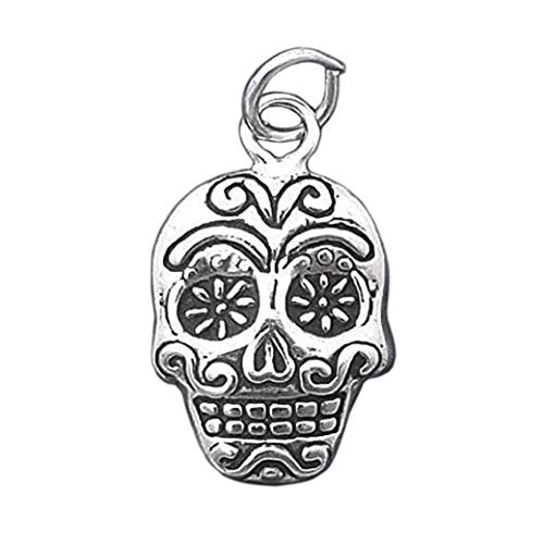 Sterling Silver Sugar Skull Halloween Day of The Dead Charm Pendant- lp4481 Jewelry Making Supply Pendant Bracelet DIY Crafting by Wholesale Charms -