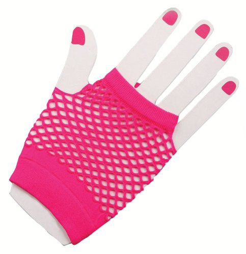 [Short Fishnet Gloves Pink] (80s Earrings)
