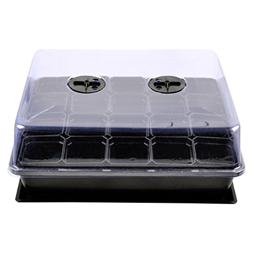 eZAKKA 37x30cm Seedling Starter Trays Seed Planting Growing Propagation Trays Plant Germination Kit Humidity Dome with 20 Pieces Square Seed Starter Pots (Black Pots) by eZAKKA