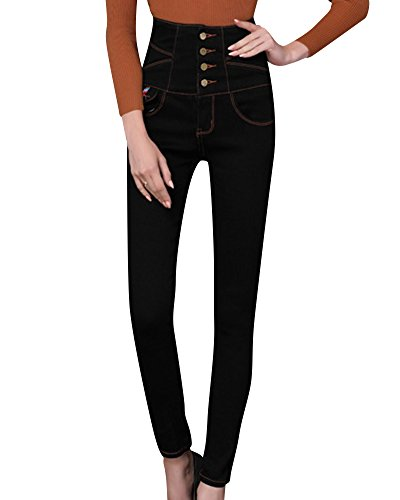 Denim Taille Femme Noir Pantalons Haute Printemps Slim Crayon Jeans 5x1nnWf