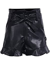 Simplee Women's Vintage Faux Leather High Waisted Lace Up Shorts with Belt
