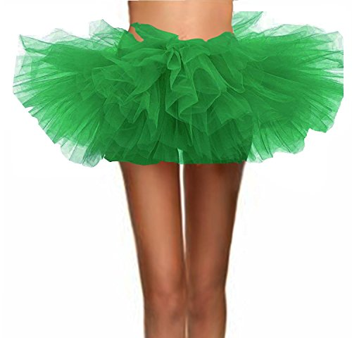 T-Crossworld Women's Classic 5 Layered Puffy Mini Tulle Tutu Bubble Ballet Skirt Grass Green Plus -