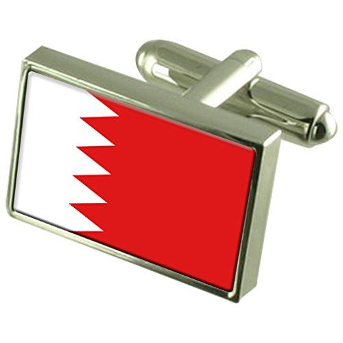 Bahrain Sterling Silver Flag Cufflinks by Select Gifts