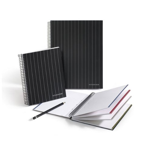 Miquelrius 6 x 8 A5 Diplomatic Wirebound Notebook, 4-Subject, College Ruled, Black