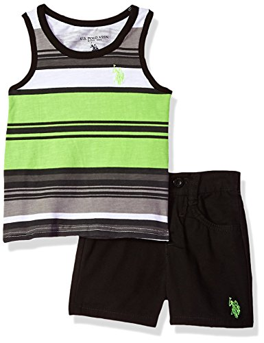 U.S. Polo Assn. Baby Boys' Striped Tank Top and Four Pocket Twill Short Set, Neon Green, 24 Months