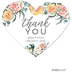 Andaz Press Peach Coral Floral Garden Party Wedding Collection, Personalized Heart Label Stickers, Thank You Anna & Steve January 4, 2020, 75-Pack, Custom Names and Date