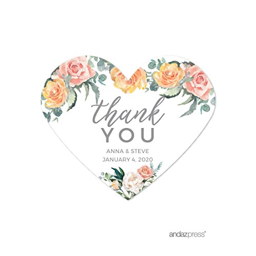 (Andaz Press Peach Coral Floral Garden Party Wedding Collection, Personalized Heart Label Stickers, Thank You Anna & Steve January 4, 2020, 75-Pack, Custom Names and Date)