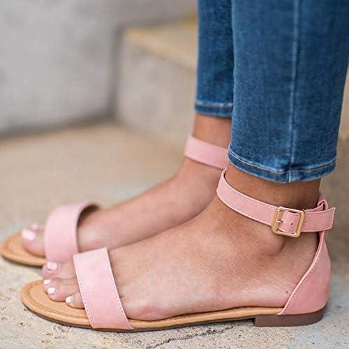 LAICIGO Womens Ankle Scalloped Strap Flat Sandals Open Toe