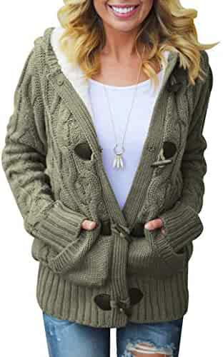 977d5b8fd1e Sidefeel Women Button Up Cardigan Knit Hooded Cable Sweater Coat Outwear