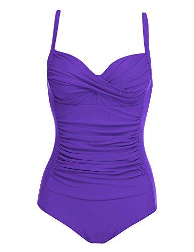Ekouaer Monokinis Womens Vintage Retro Bathing Suit Inspired Fashion Figures One Piece Swimsuit(Purple,X-Small)