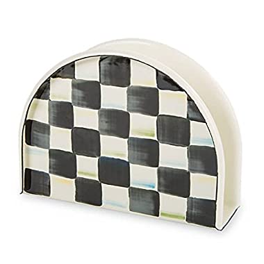 Napkin Holder, Steel Enamel with Decorative Courtly Check Hand Print Black/White Paper Napkin Stand by MacKenzie-Childs