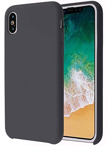 Soft Liquid Silicone iPhone X Cover Case Inner Soft Microfiber Cloth Lining Cushion for Apple iPhone X/10 5.8inch (Space Grey)