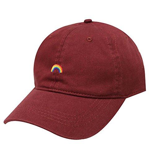 Rainbow Baseball Hat - City Hunter C104 Rainbow Cotton Baseball Cap 12 Colors (Burgundy)