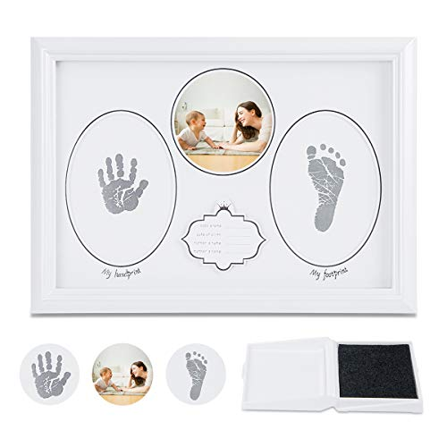 MXRJUWM Baby Handprint and Footprint Kit Ink Pad Album, Handprint and Footprint Photo Frame Kit for Newborn Boys and Girls,Baby Hand Photo Frame Unique Gifts for Room Wall Nursery Decoration