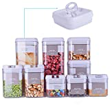 9 Piece Airtight Food Storage Container Set with Labels, Pantry Organization and Storage Made Easy! - Keeps Food Fresh, Dry and Organized - Big Sizes Included! - Durable, BPA Free Containers