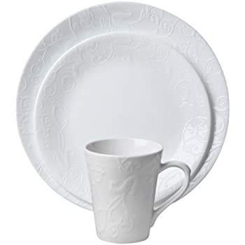 Lovely Corelle Embossed Bella Faenza 16 Piece Dinnerware Set, Service For 4, White