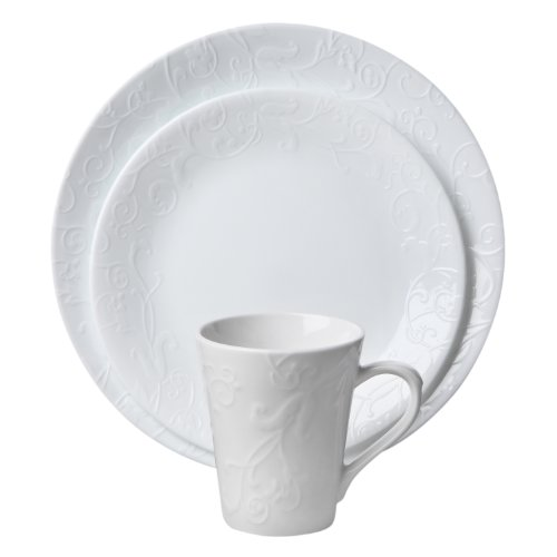 4129KZQAoAL - Corelle Embossed Bella Faenza 16-Piece Dinnerware Set, Service for 4, White