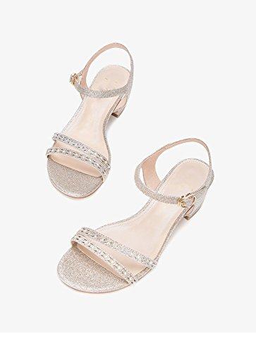 da moda piatti basso con DHG 35 tacco alti estivi Oro Tacchi Pantofole alla a Sandali donna casual Sandali Sandali tacco basso w8ta8Y