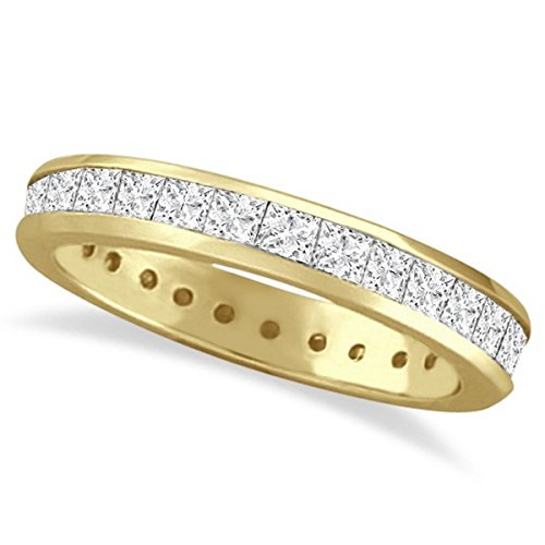 Channel-Set Princess Cut Diamond Eternity Ring 14k Y. Gold (1.56ct) (Princess Band Eternity Diamond Set)
