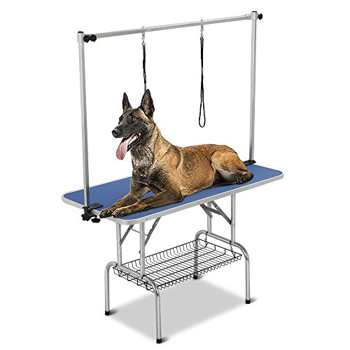 Yaheetech Pet Grooming Table for Large Dogs Adjustable Height - Portable Trimming Table Drying Table w/Arm/Noose/Mesh Tray Maximum Capacity Up to 265-331Lb Blue 47'x 24'