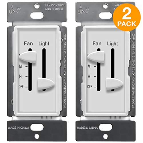 ENERLITES 3 Speed Ceiling Fan Control and LED Dimmer Light Switch, 2.5A Single Pole Light Fan Switch, 300W Incandescent Load, NO NEUTRAL WIRE REQUIRED, 17001-F3-W, White (2 Pack) (Wiring A Ceiling Fan With 2 Switches)