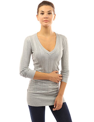 PattyBoutik-Womens-V-Neck-Ribbed-Tunic-Knit-Top-Heather-Gray-M