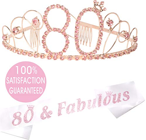 80th Birthday Gold Tiara and Sash, Happy 80th Birthday Party Supplies, 80th Black Gold Glitter Satin Sash and Crystal Tiara Birthday Gold Crown for 80th Birthday Party Supplies and Decorations (Pink) -