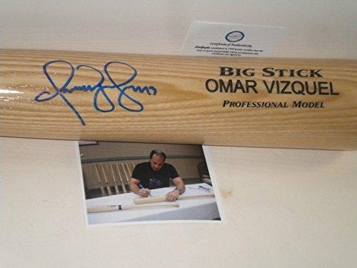 (Omar Vizquel Cleveland Indians Autographed Signed Engraved Bat Blonde)