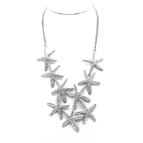Chunk Silver Tone European Starfish Alloy Pendant Bib Statement Necklace (silver) (Necklace Huntress)