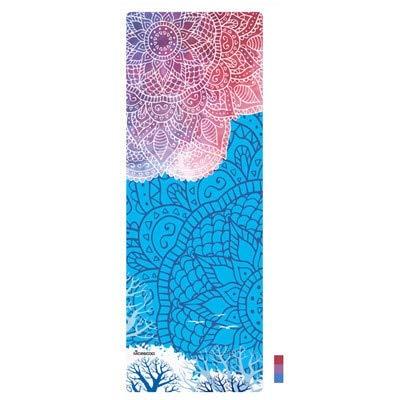 YOOMAT Stuoia di Yoga della Pelle Scamosciata Professionale stuoia di Yoga 3,5 mm di Spessore Antiscivolo Stampato tappetini per Esercizi di stuoia tappetini Sportivi Copertura Danza Pad Fitness, Blu