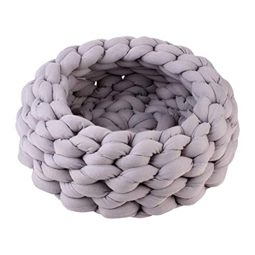 POPETPOP Chunky Knit Cat Bed Yarn Dog Cushion Cat Cave for Cats Dogs Small Animal 35cm (Grey) ()