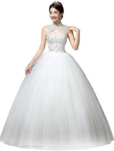 Clover Bridal Vintage High Collar Pearl Wedding Dress For Bride ...
