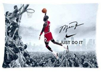 (WarmHome Custom MJ Slam Dunk Basketball Home Decorative Soft Throw Pillowcase Cushion Custom Pillow Case Cover Protecter with Zipper Standard Size 20x30 Inches Two Sides Printed)