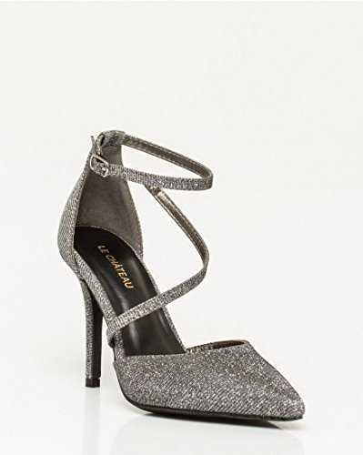 TEAU Toe Pewter Women's Pointy Metallic Pump LE Strappy CH 5aTqwP4S