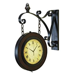 Deco 79 Metal Wall 2 Side Clock, 27-Inch by 22-Inch