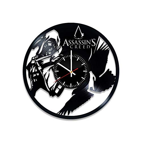 Assassin's Creed Vinyl Clock - Assassin's Creed Video Game Vinyl Records Wall Art Room Decor Handmade Decoration Party Supplies Theme - Best Original Present Gift Idea - Vintage and Modern Style