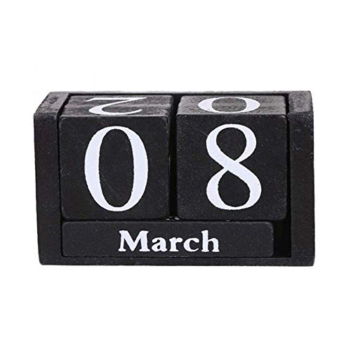 Vintage Wooden Calendar, Chic Blocks Desktop Perpetual Calendar, Time Concept Rustic Wooden Cubes Calendar Month Date Display Home Office Decoration (Black) -