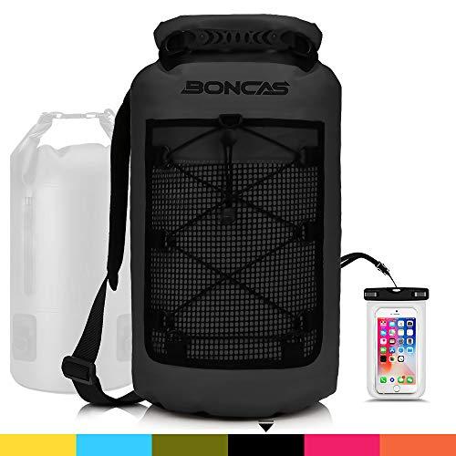 Boncas Waterproof Backpack, 20L Dry Bag with Waterproof Phone Pounch, Roll Top Bag Dry Sack Waterproof Dry Bag Perfect for Kayaking, Fishing, Rafting-Black