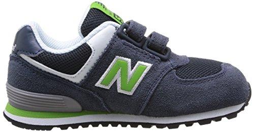 New Balance KG574 - Zapatilla deportiva de piel infantil Navy/Green Suede/Mesh