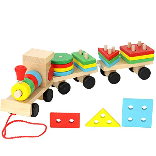 - SUNONE11 Wooden Geometry Train Shape Jigsaw Puzzles Peg Puzzles for Toddlers Games Toys Learning Education Early Development Sorting Stacking Stacker